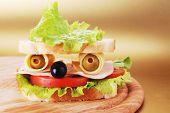 pic of sandwich  - fresh tasty sandwich looks like real face - JPG