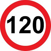 120 Speed Limitation Road Sign