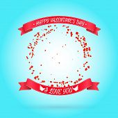 Happy Valentine's day background with round frame of particles like hearts. Vector illustration. Can