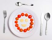 Plate With Funny Emoticons Made From Food With Cutlery On White
