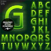 Techno style alphabet  sensitive to the background. Art-deco. Set 1