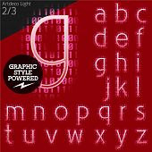 Techno style alphabet  sensitive to the background. Art-deco light. Set 2