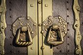 old lock on the vintage door, close-up photo