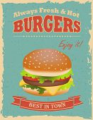 image of hamburger  - Fast food restaurant poster with retro hamburger - JPG