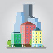 .modern Flat Design Cityscape Illustration