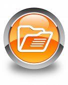 Folder Icon Glossy Orange Round Button