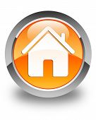 Home Icon Glossy Orange Round Button