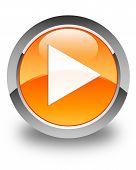 Play Icon Glossy Orange Round Button
