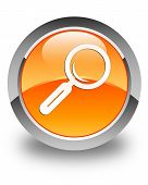 Magnifying Glass Icon Glossy Orange Round Button