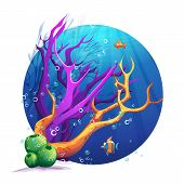 Illustration of the underwater world with corals and fish fun