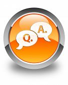 Question Answer Bubble Icon Glossy Orange Round Button