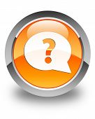 Question Mark Bubble Icon Glossy Orange Round Button