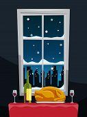 picture of turkey dinner  - Romantic dinner with turkey on table near window illustration vector - JPG