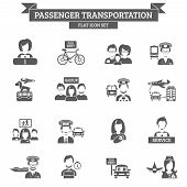 stock photo of bus driver  - Passenger transportation black icon set with driver captain stewardess isolated vector illustration - JPG