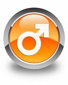 Male Sign Icon Glossy Orange Round Button