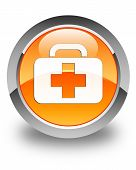 Medical Bag Icon Glossy Orange Round Button