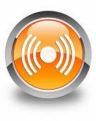 Network Signal Icon Glossy Orange Round Button