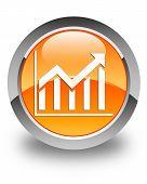 Statistics Icon Glossy Orange Round Button