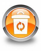 Trash Icon Glossy Orange Round Button
