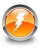 Electricity Icon Glossy Orange Round Button