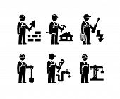 Construction Worker Figure Pictogram icons