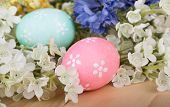 Easter Eggs And Colorful Flowers
