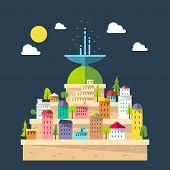 Flat Design Of Fountain City
