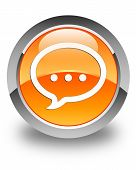 Talk Icon Glossy Orange Round Button