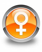 Female Sign Icon Glossy Orange Round Button