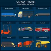 picture of tank truck  - Set of elements cargo transportation - JPG