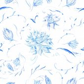 Pastel pattern with blue flowers
