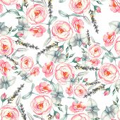 Hand drawn watercolor floral seamless pattern with tender pink roses in vector on the white backgrou