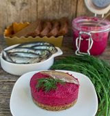 appetizer of beet on a slice of bread
