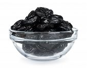 Lot Of Prunes In Transparent Glass Bowl