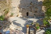 foto of burial  - The Garden Tomb in Jerusalem is one of the two alleged burial sites of Jesus Christ - JPG
