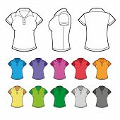 Set of Colorful Female Polo Shirts. Vector.