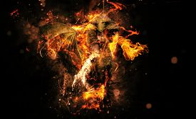 pic of creatures  - Conceptual Flaming Animal Creature on Black Background with Copy Space - JPG