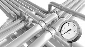 picture of manometer  - Modern gray steel industrial metal pipeline fragment with zero pressure manometer indication - JPG