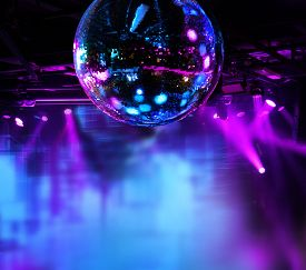 foto of balls  - Colorful disco mirror ball lights night club background - JPG
