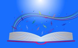 foto of rainbow piano  - Colorful background with treble clef and open book - JPG