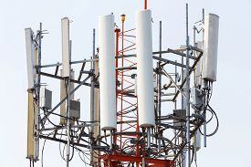 picture of wiretap  - Close up antenna repeater cell tower in city - JPG