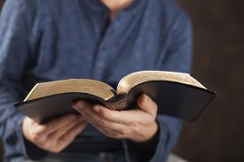 stock photo of priest  - Man reading from the holy bible - JPG