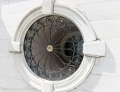picture of wrought iron  - Round Window in Marble Building - JPG
