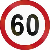 foto of traffic rules  - Colombian traffic sign restricting speed to 60 kilometers per hour - JPG
