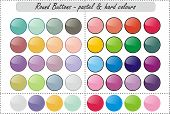 stock photo of pastel colors  - A set of colourful web buttons in pastel colours and hard colours - JPG