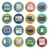 stock photo of coin bank  - Bank icons flat set with atm money trading finance check isolated vector illustration - JPG