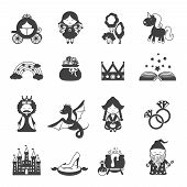 stock photo of fairies  - Fairy tale black icons set with princess dragon and magic symbols isolated vector illustration - JPG
