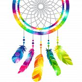 stock photo of dream-catcher  - Dream catcher with abstract bright transparent feathers - JPG