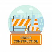 stock photo of cone  - Website improvement under construction flat icon with traffic barrier and cone vector illustration - JPG