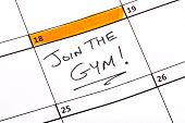 picture of joining  - A date written on a calendar to join the gym - JPG